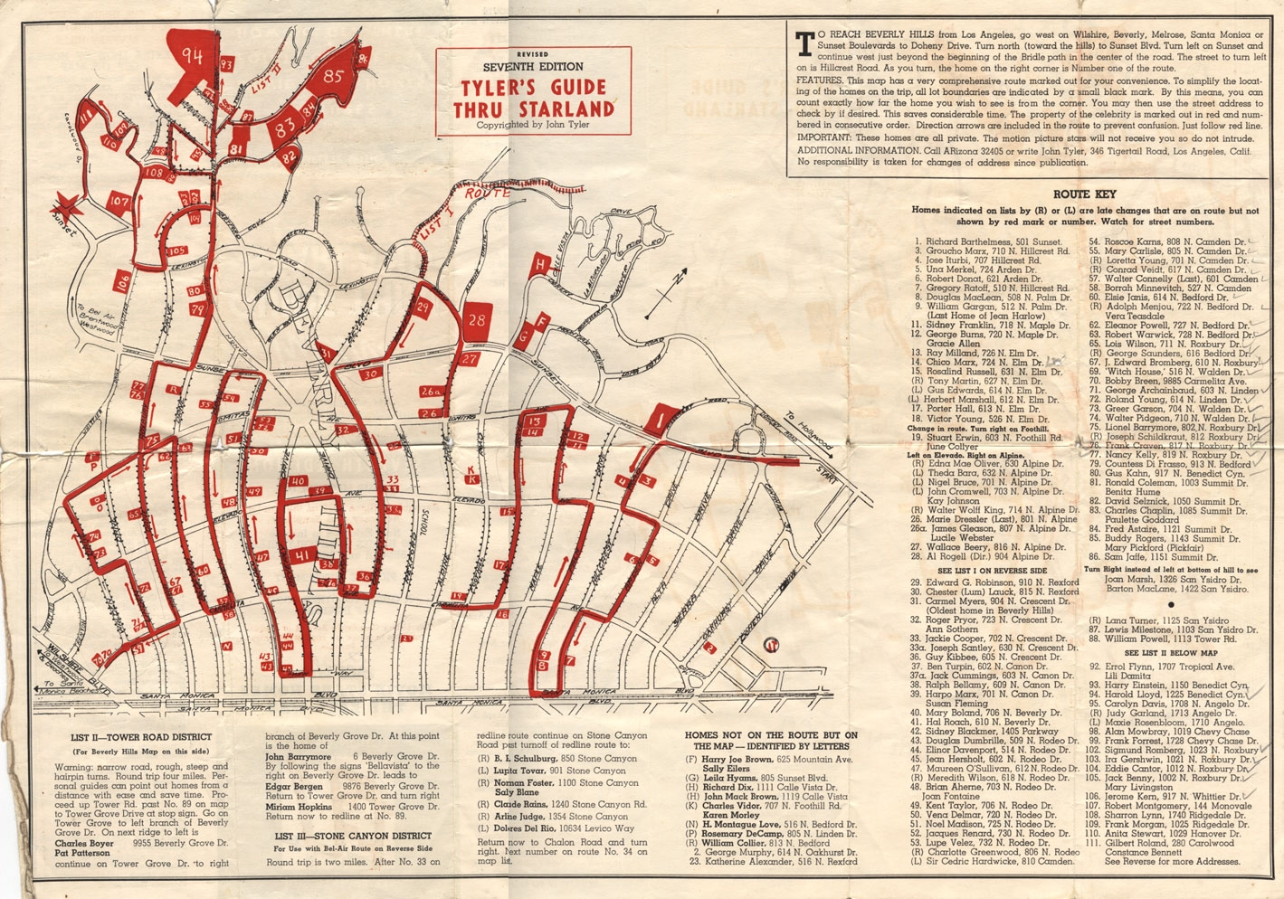 vintage map of beverly hills star homes beverly hills ForMovie Star Homes Beverly Hills